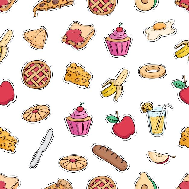 Padrão sem emenda de comida saudável almoço com estilo doodle colorido Vetor Premium