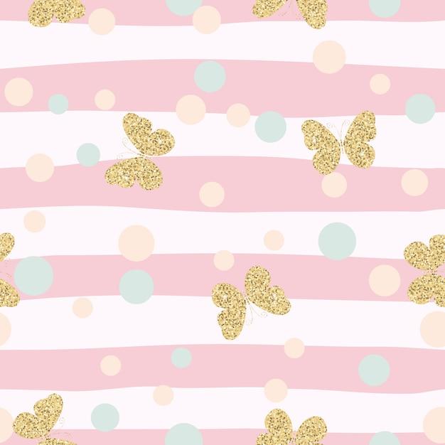 Padrão sem emenda de confetes borboletas ouro brilhante Vetor Premium