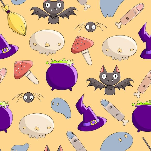 Padrão sem emenda de conjunto de bruxas de halloween (chapéu de bruxas, vassoura, pote de poção, cogumelo, caveira, dedos, morcego, aranha). Vetor Premium