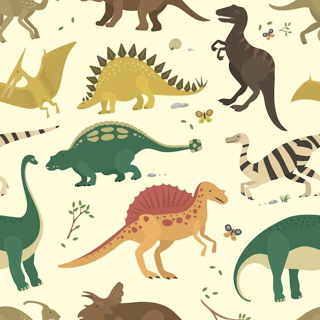 Padrão sem emenda de cor vintage de dinossauro. Vetor Premium