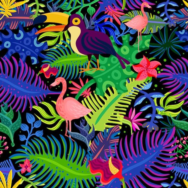Padrão sem emenda de cores exóticas tropicais Vetor grátis