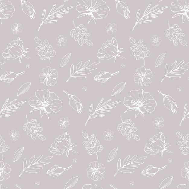 Padrão sem emenda de cores pastel florais. design de tecido e têxtil com flores de contorno em bege Vetor Premium