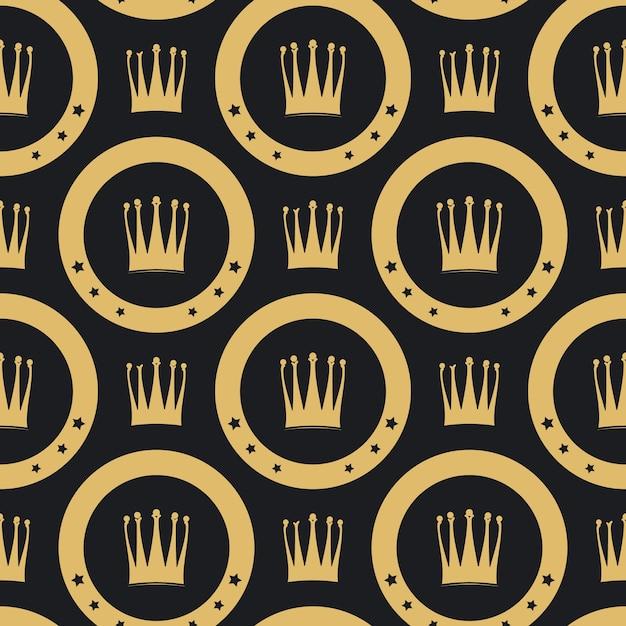 Padrão sem emenda de coroa dourada. fundo luxuoso dourado vintage, Vetor grátis