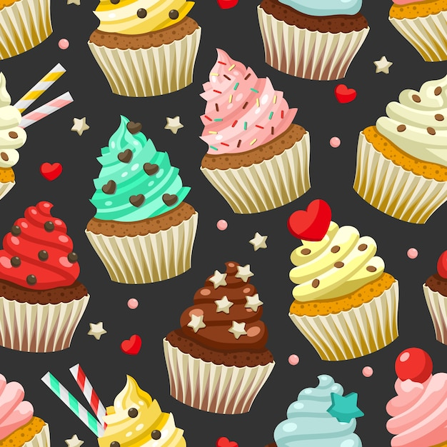 Padrão sem emenda de cupcakes coloridos deliciosos Vetor Premium