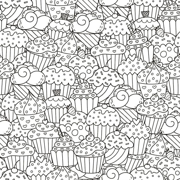 Padrão sem emenda de cupcakes preto e branco Vetor Premium