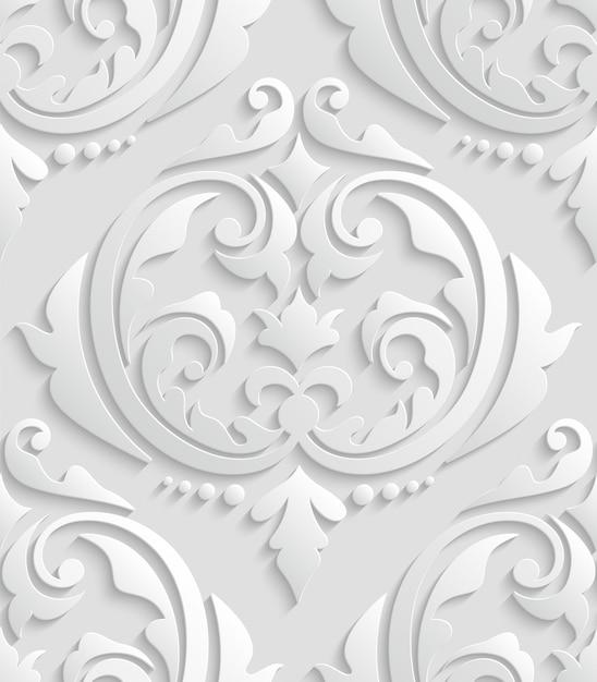 Padrão sem emenda de damasco 3d branco Vetor Premium