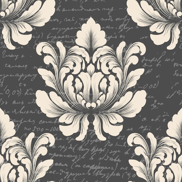 Padrão sem emenda de damasco com texto antigo. ornamento de damasco à moda antiga de luxo clássico, textura perfeita vitoriana real para papéis de parede, têxteis. Vetor grátis