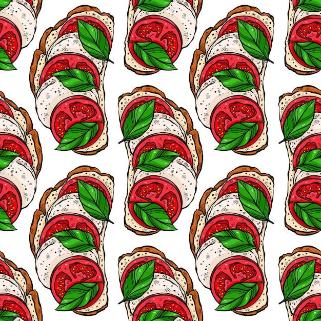 Padrão sem emenda de deliciosas torradas de café da manhã com tomate, folhas de manjericão e mussarela. Vetor Premium