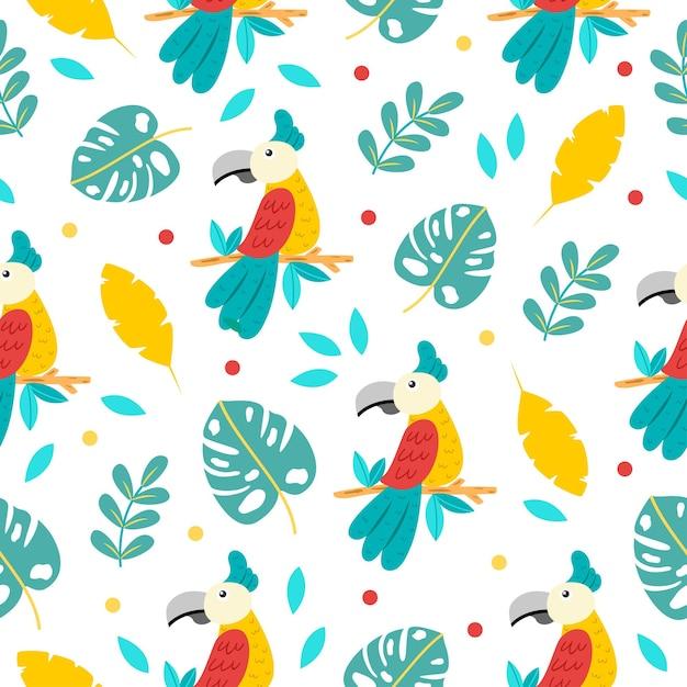 Padrão sem emenda de desenho de papagaios fofos Vetor Premium