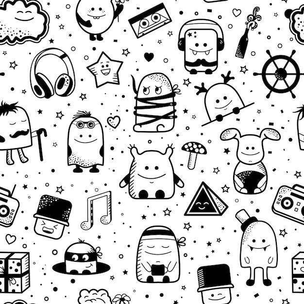 Padrão sem emenda de desenhos animados com monstros engraçados. personagens desenhados mão dos desenhos animados Vetor Premium