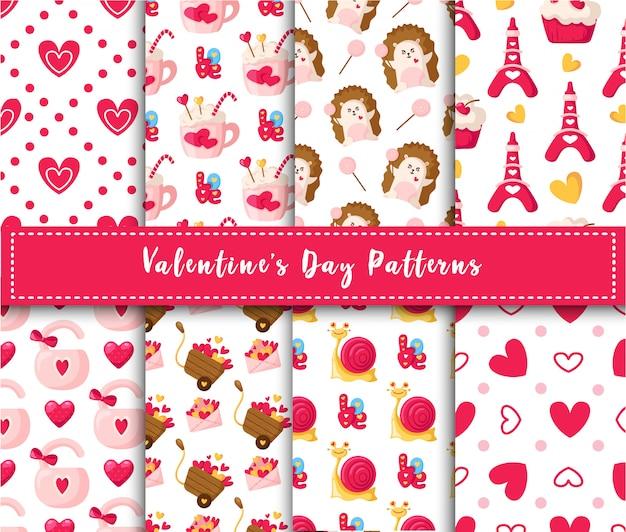 Padrão sem emenda de dia dos namorados conjunto cartoon kawaii ouriço, caracol bonito, bolo doce, bloqueio, letras, torre eiffel Vetor Premium