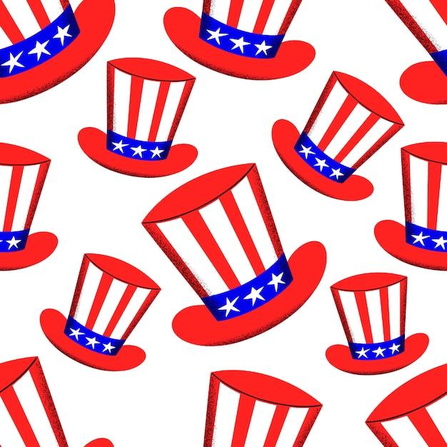 Padrão sem emenda de dia independente da américa. ilustrações festivas. 4 de julho Vetor Premium