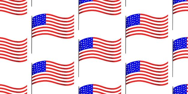 Padrão sem emenda de dia independente da américa. ilustrações festivas. 4 de julho Vetor grátis