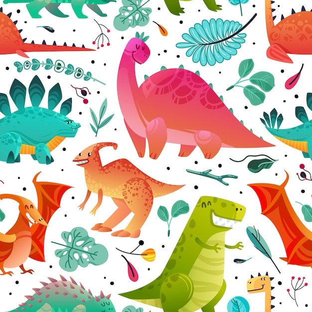 Padrão sem emenda de dinossauro. dino têxtil impressão dragão engraçado monstros animais fofos crianças papel de parede cor dinossauros textura dos desenhos animados Vetor Premium