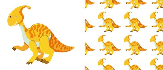 Padrão sem emenda de dinossauros em branco Vetor Premium