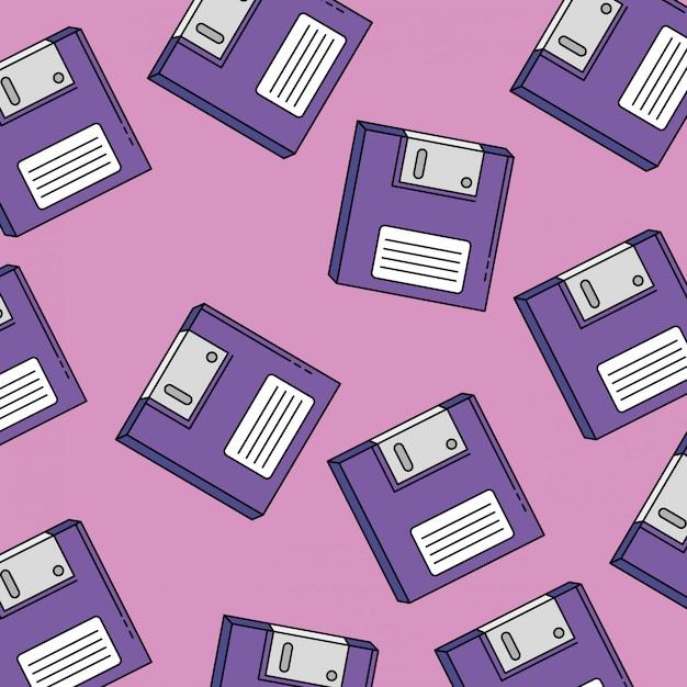 Padrão sem emenda de disquetes do estilo retrô dos anos noventa Vetor Premium