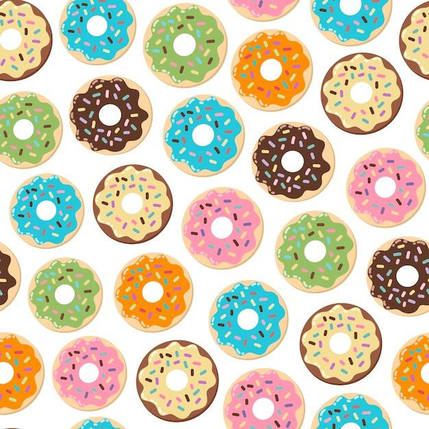 Padrão sem emenda de donuts bonitinho Vetor Premium