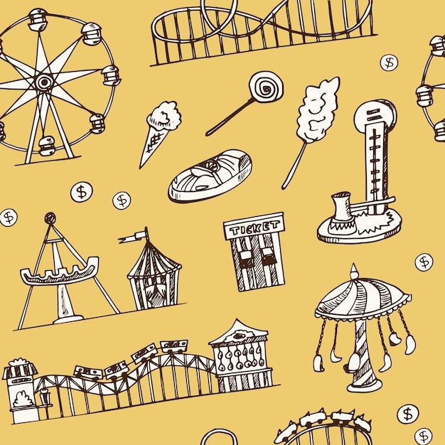 Padrão sem emenda de doodle desenhado à mão para parque de diversões Vetor Premium