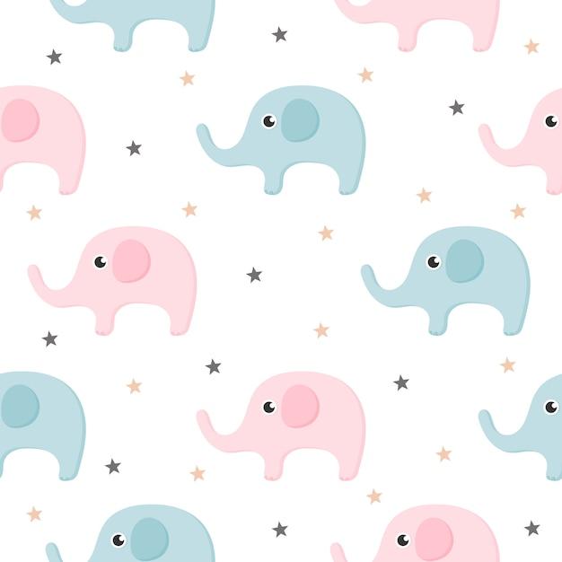 Padrão sem emenda de elefante bonito dos desenhos animados, isolado no fundo branco. Vetor Premium