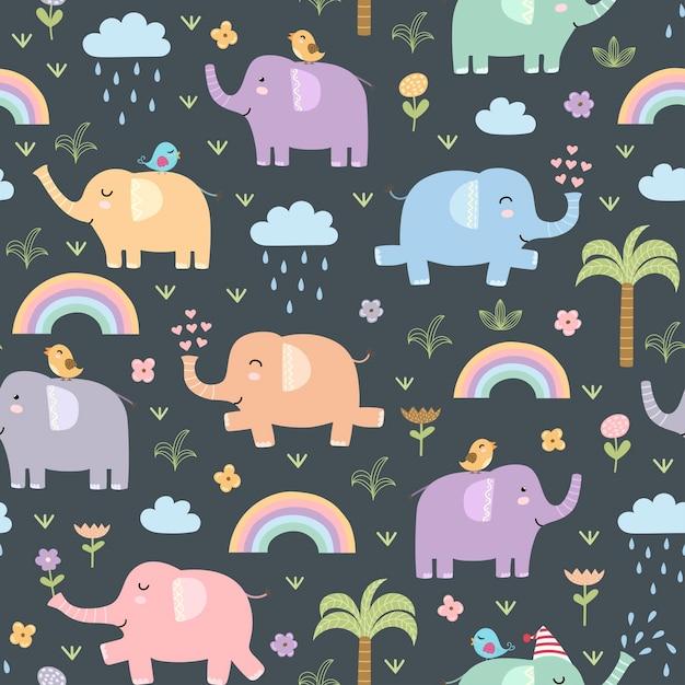 Padrão sem emenda de elefantes engraçados. Vetor Premium