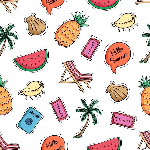 Padrão sem emenda de elementos de verão bonito e frutas com estilo doodle colorido Vetor Premium