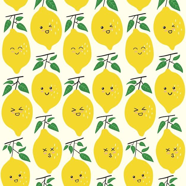 Padrão sem emenda de emoticon de limão bonito Vetor Premium