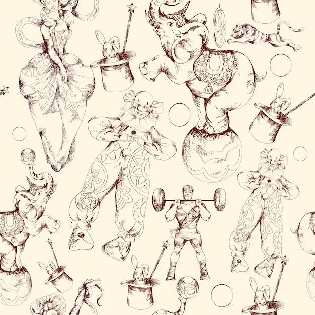 Padrão sem emenda de esboço de doodle de circo Vetor Premium