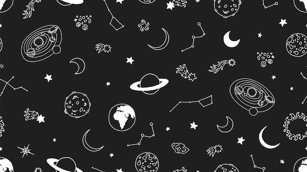 Padrão sem emenda de espaço. planetas da lua de estrelas. sem costura galáxia, fundo do universo do doodle. galaxy espaço, astronomia doodle universo Vetor Premium