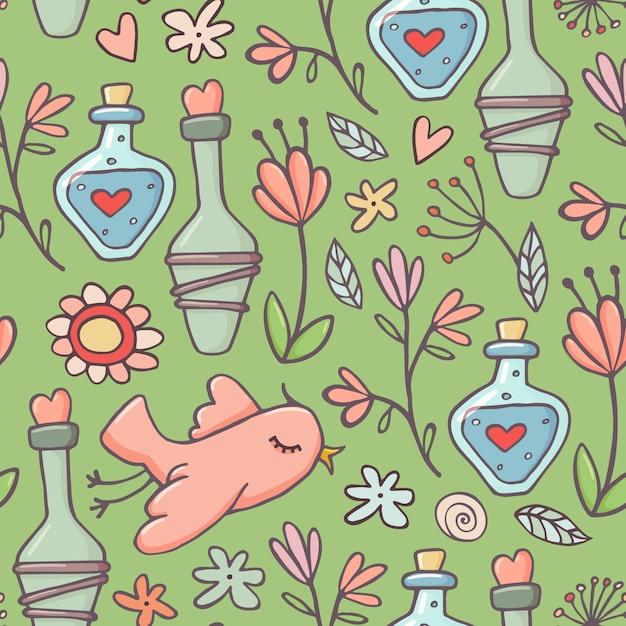 Padrão sem emenda de estilo bonito doodle com poções de amor, pássaros e flores Vetor Premium