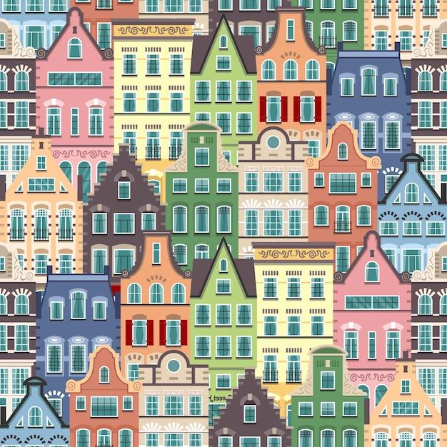 Padrão sem emenda de fachadas de desenhos animados de casas antigas de holanda. arquitetura tradicional da holanda. ilustração plana colorida no estilo holandês. Vetor Premium