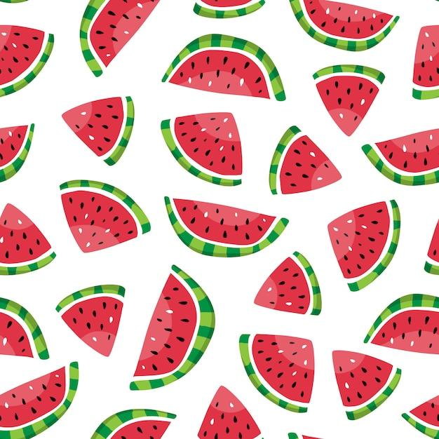 Padrão sem emenda de fatias de melancia no estilo mão desenhada. Vetor Premium
