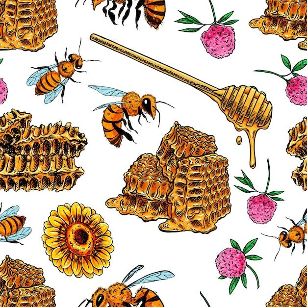 Padrão sem emenda de favos de mel, abelhas e flores Vetor Premium