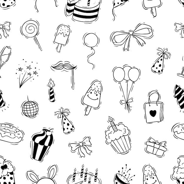 Padrão sem emenda de festa de aniversário com estilo doodle Vetor Premium