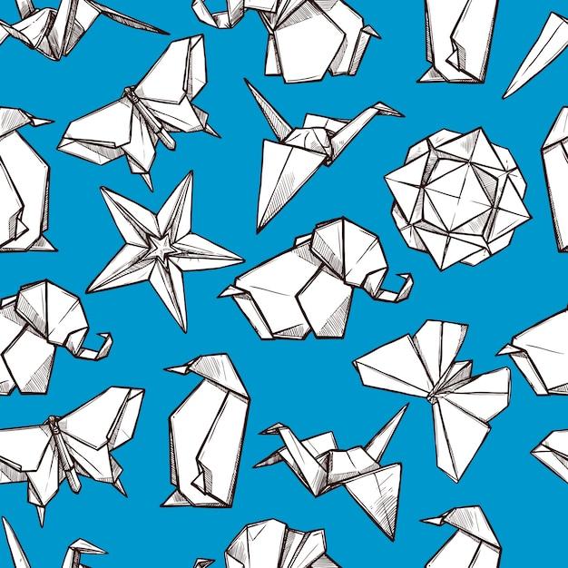 Padrão sem emenda de figuras de papel dobrado de origami Vetor grátis