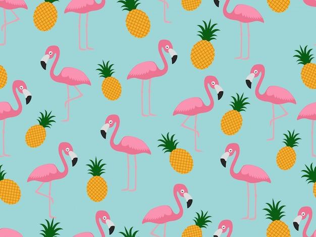 Padrão sem emenda de flamingo com abacaxi Vetor Premium