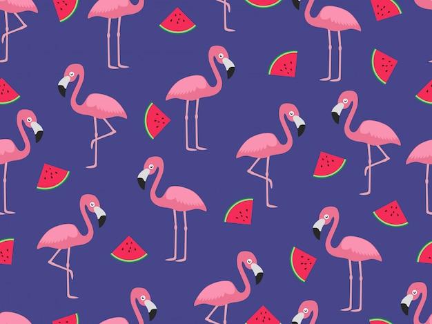 Padrão sem emenda de flamingo com fatia de melancia Vetor Premium
