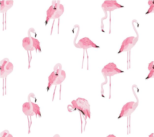 Padrão sem emenda de flamingo Vetor Premium