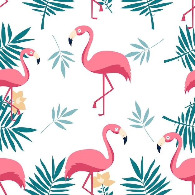 Padrão sem emenda de flamingo. Vetor Premium