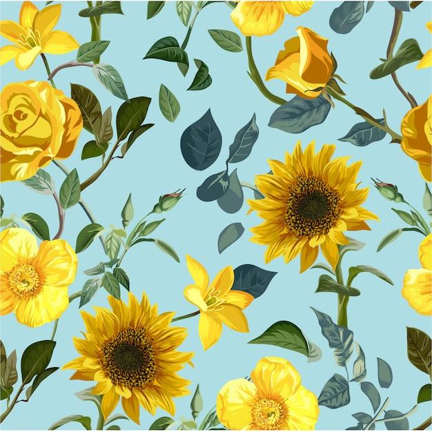 Padrão sem emenda de flor amarela Vetor Premium