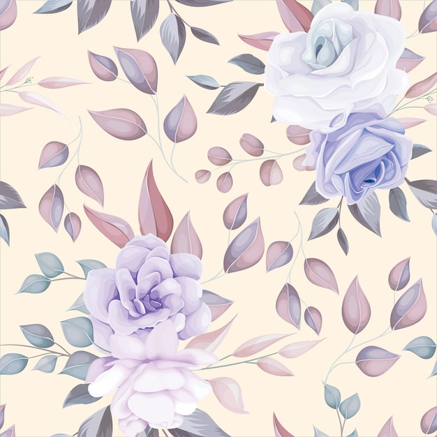 Padrão sem emenda de flor romântica com decoração de flor roxa Vetor grátis