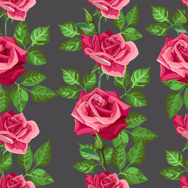 Padrão sem emenda de flor rosa vermelha -vector Vetor Premium