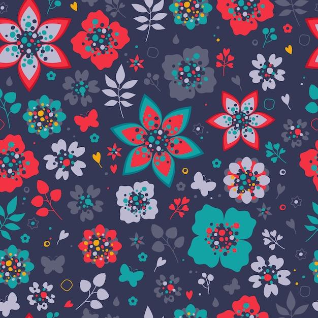 Padrão sem emenda de flores coloridas. fundo floral Vetor Premium