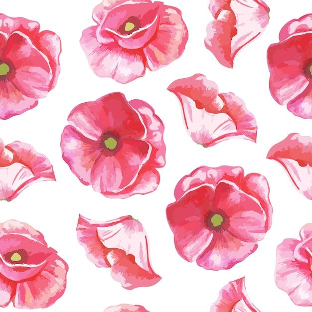 Padrão sem emenda de flores de tulipas Vetor Premium