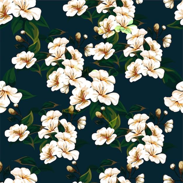 Padrão sem emenda de flores em azul escuro Vetor Premium