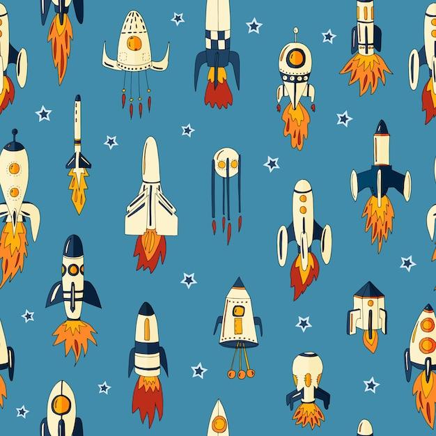 Padrão sem emenda de foguetes no espaço entre as estrelas Vetor Premium