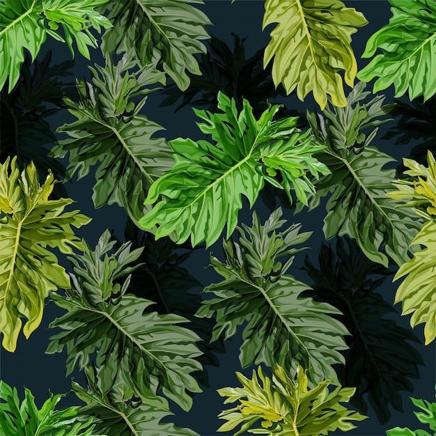 Padrão sem emenda de folha tropical. Vetor Premium