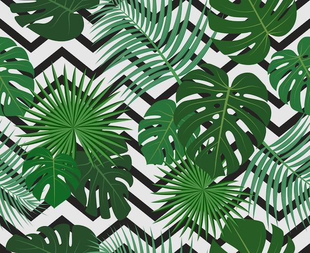Padrão sem emenda de folhas de palmeira tropical selva exótica Vetor Premium