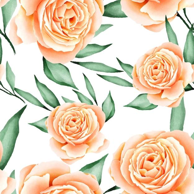 Padrão sem emenda de folhas florais em aquarela Vetor Premium