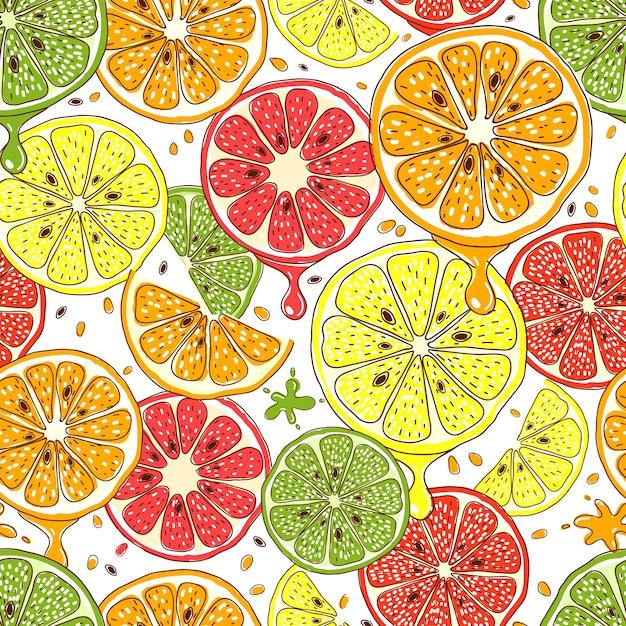 Padrão sem emenda de frutas cítricas Vetor grátis