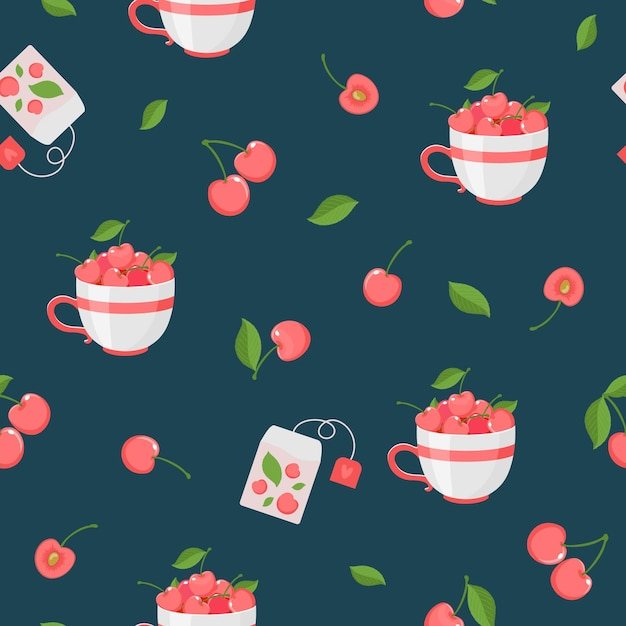 Padrão sem emenda de frutas e folhas de cereja, saquinhos de chá. vetor, fundo escuro. Vetor Premium